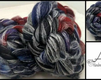 Seduction 4oz Panda Spinning Fiber Combed Top Superwash Merino Wool Bamboo Nylon Black Purple Blue Red