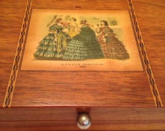 Godey's Fashions Inlaid Walnut Box