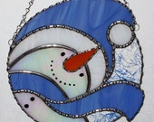 Christmas Holiday Stained Glass Suncatcher - Winter Icy Snowman with Blue Scarf panel