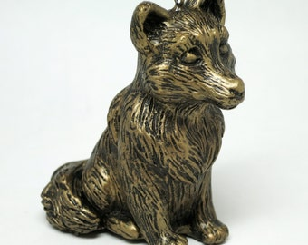 Wolf Ornament with Faux Metal Finish-Gold
