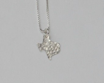 Texas State Necklace, tiny, sterling silver