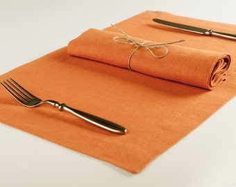 Table napkins set Place-mat set of six Made of rust orange linen More colors available