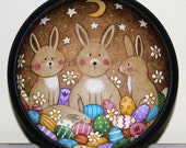 Spring Folk Art Painting Wood Bowl - MADE TO ORDER - Primitive Style  Hand Painted Easter Bunnies with Pastel Easter Eggs, Flowers, Stars
