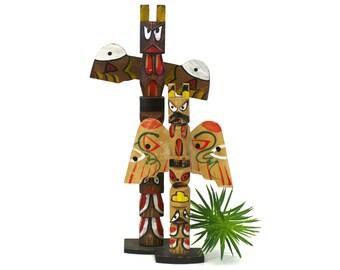 Vintage Set of 2 Wooden Tribal Totem Figurines (E4917)