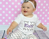 Personalized Baby Girl Clothes Newborn Girl Take Home Outfit Gray Chevron Baby Girl Bodysuit w/ options for Pants and Headband Baby Gift Set