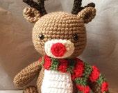 Rudolph the Reindeer / Stuffed Reindeer / Amigurumi Reindeer / Crochet Amigurumi / Ready to Ship