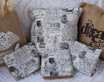 French Country and burlap pillow covers for 18 x 18 pillow form decorative pillow case cover for rustic, shabby chic home decor, Paris Roma