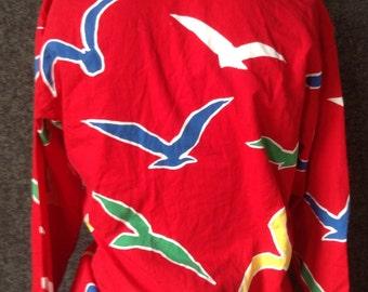 Ladies vintage bird print button up shirt USA wonens 12