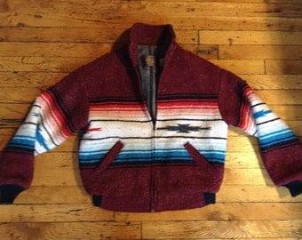 Vintage wool baja blanket jacket USA medium
