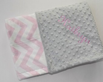 Monogrammed Chevron Baby Blanket - Minky Gray and Pink Personalized - Girl, Soft Zig Zag