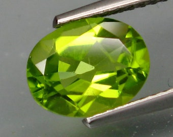 Classic Apple Green Peridot Faceted Oval Calibrated 9 x 7 MM 1.85 Ct Vintage Stock Re cut