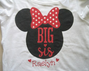 Minnie Mouse Big Sister Shirt,New Big Sister Shirt,Choice of Red or Hot Pink Bow,Personalized with Big Sister's Name on front & back