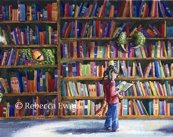 Illustration Art Print of Library Monster 8.5x11