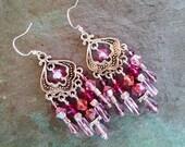 Pink chandelier earrings, Bohemian gypsy hippe silver pink, peach fuchsia purple crystal long chandelier earrings