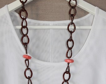 Multi coloured Chain necklace with coral beads