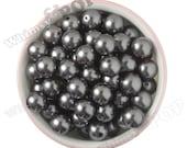 16mm - Pearl Metallic Gray Gumball Beads, Chunky Pearl Beads, 16mm Pearl Beads, Pearl Gumball Beads, Bubble Gum Beads, 2MM Hole