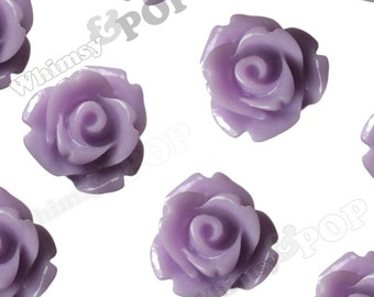 Lavender Purple Rose Cabochons, Flower Cabochons, Flower Cabs, 10mm Rose Cabochons, Flat Back Roses, 10mm x 6mm (R1-069)