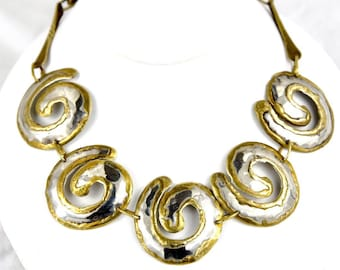 Unique Mixed Metal Arts & Crafts Period Silver and Brass Domed Swirl Link Bib Necklace