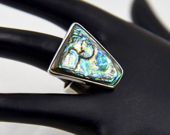 Modernist Abalone Sterling Silver Geometric Ring