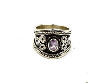Vintage Ametyst Sterling Wide Band Ring Size 6