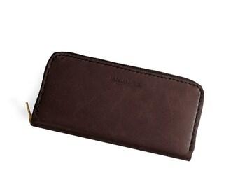 Brown Leather Zip Around Womens Wallet Pocketbook