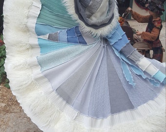 SPECIAL Order Only!! Upcycled Sweaters; GLACIER FauxFur Gipsy Spiral Coat (w/White Fur)