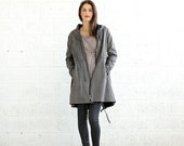 Summer SALE SALE! Winter Flax Coat, Back Zip Coat- Grey.