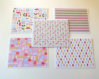 Note Card Set, Blank Note Cards, Note Cards, Thank You Notes, Blank Cards, Set of 5 Note Cards with Matching Envelopes, Spring Whimsy Cards