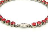 Art Deco Bracelet.  Siam Red Crystal Line Bracelet. Rhinestones, Floral Press Clasp, Sterling Silver. Vintage 1940s Retro Jewelry