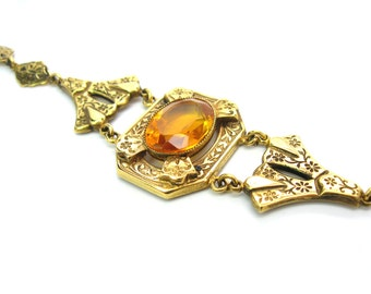 Topaz Bracelet. Victorian Revival. Topaz Glass, Gold Filled. Floral & Vine Links. 6.75 inches. Antique Style. Vintage Victorian Jewelry