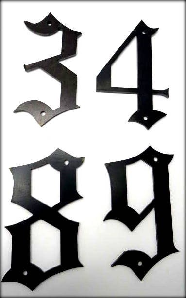 Metal house numbers 5 old english style numbers street for Classic house number fonts