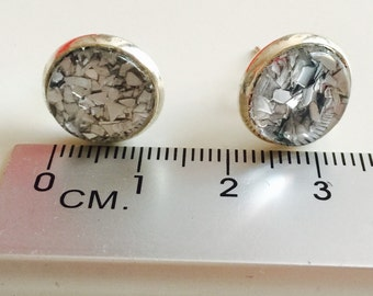 Silver Glitter Studs