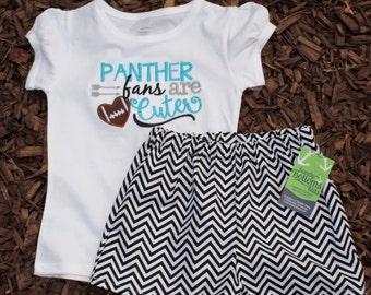 PANTHERS GIRL SHIRT- panthers fan are cuter- Panther shirt- waistin away- Black and Blue- Panther Fans- Blue Panther Shirt for Girls