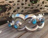 Vintage Sand Cast Turquoise Cuff. Sterling silver Native American cuff bracelet.