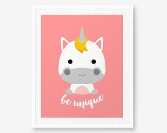 Be unique Unicorn Print, Nursery Art, Nursery decor, Baby Cute Animal Wall Art, Children Animal Art, Kids Room Decor