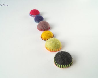 Felt Fridge Magnets - Set of 6 Green Purple Mustard Yellow Black Blue Pink OOAK - Child Safe