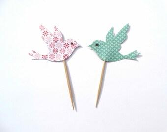 Bird Cupcake Toppers, bird holding heart,