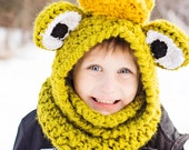 Frog Prince hooded cowl, Animal hooded cowl, Frog hooded cowl, animal hood, animal hat, animal winter hat, unique winter hat, childrens hat
