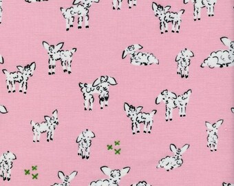 Clover Little Lambs in Pink, Alexia Marcelle Abegg, Cotton+Steel, RJR Fabrics, 100% Cotton Fabric, 4025-2