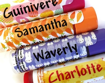 PERSONALIZED Lip Balms - 4 Different Easter Lip Balms - CHOOSE 4 DIFFERENT NAMEs - Easter Gift for Kids - Easter Lip Balm - Set of 4
