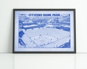 Print of Vintage Citizens Bank Park Seating Chart Canvas Field Photo Philadelphia Phillies Diagram Blueprint Drawing Home Art Decor Giclee