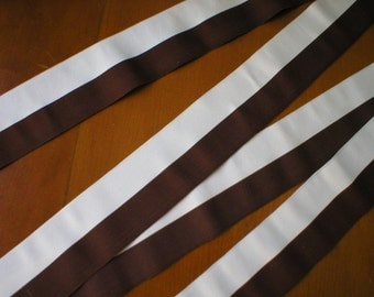 "Vintage Gross Grain Ribbon ~ Maroon and Ivory Milliners Ribbon ~ Approximately  2 1/8"" Wide by 48"" Long"