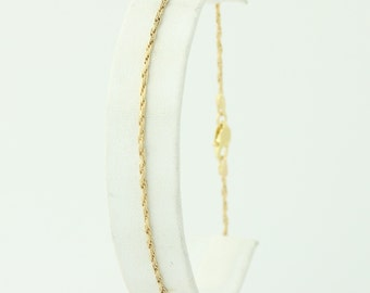 "Rope Chain Bracelet - 18k Yellow Gold 8.75"" Twist Chain 750 Lobster Clasp Q4502"