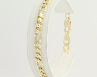 "Figaro Chain Bracelet 7 3/4"" - 14k Yellow Gold Lobster Claw Clasp Women's Fine L7267"