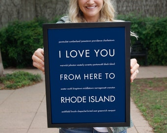 Rhode Island Art Print, Travel Poster, I Love You From Here To RHODE Island, Shown in Navy Blue, Free Us Shipping