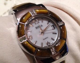 Tiger's Eye gemstone bangle cuff bracelet vintage style watch