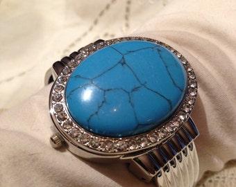 Touquoise Howlite gemstone bangle bracelet watch