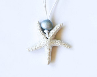 Handmade Clay Starfish Necklace White Pearl with Silver Bead Adjustable