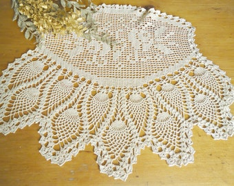 Crocheted Doily Large Ecru Crochet Doily Vintage Doilies Doilies Handmade D3