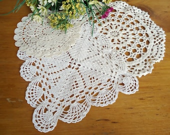 3 Doilies Doily Crocheted Doily Ecru Vintage Doilies  D24